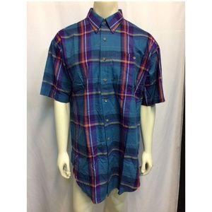 Mens Carriage Trade Turquoise Plaid Shirt XL